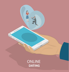 online dating app isometric flat concept vector image