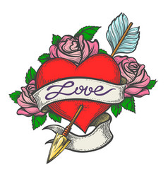 Pierced heart in tattoo style vector