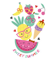 poster with cute ice cream and fruits vector image