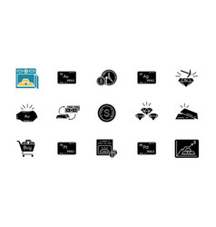 Precious metals and investment black glyph icons vector
