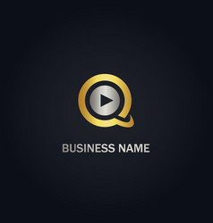 q initial music play gold logo vector image