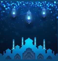 ramadan kareem background with glowing latern vector image