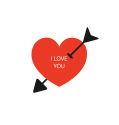 red heart with arrow and text i love you in flat vector image