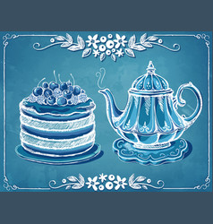 Retro tea time with teapot and berry cake floral vector
