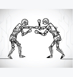 robot playing boxing vector image