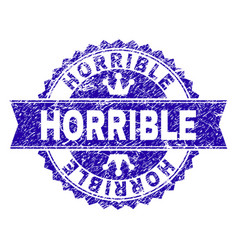 Scratched textured horrible stamp seal with ribbon vector