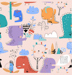 seamless pattern with cute cartoon dinosaurs on vector image