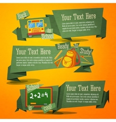 Set cute back to school banners with bag bus vector