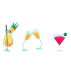 Set from glasses with drinks vector