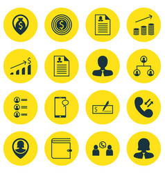 set of 16 human resources icons includes bank vector image