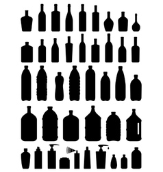 Set of glass plastic and cosmetic bottle vector