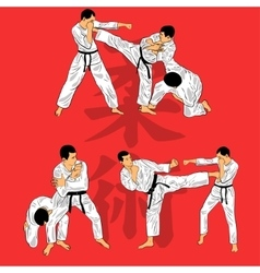 Set of ju-jutsu fighters vector