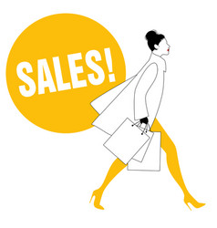 silhouette fashionable woman with shopping vector image