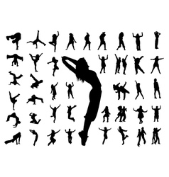 Silhouette people jumping dance vector