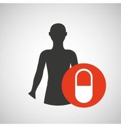 silhouette person medical capsule icon design vector image