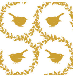 Sloe and birds a set of three golden seamless vector