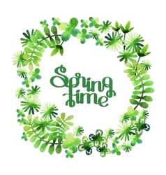 Spring watercolor floral wreath vector image