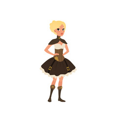 Steampunk woman posing with arms akimbo fancy vector