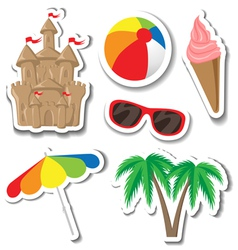 Summer sticker set vector image vector image