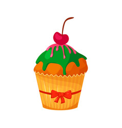 sweet christmas and new year cupcake with cherry vector image