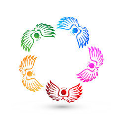 Teamwork angel people icon vector