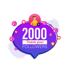 Thank you 2000 followers numbers flat style vector