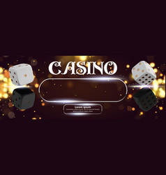 top view of casino sign poker dice on golden shiny vector image