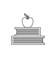 Two books and apple icon outline style vector image vector image
