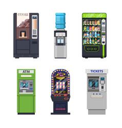 Vending machines food snacks or drinks dispensers vector