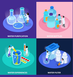 water purification isometric icon set vector image