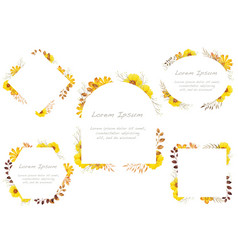 Watercolor floral frame set on a white background vector