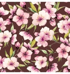 Watercolor sakura pattern vector