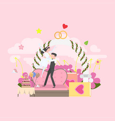 wedding arch with bride and groom vector image