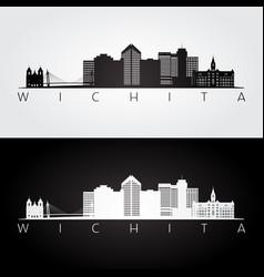 Wichita usa skyline and landmarks silhouette vector