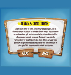 wood terms and conditions agreement panel for ui vector image