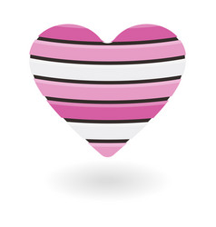 wooden pink heart isolated on white background vector image