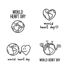 world heart day banner set hand drawn style vector image