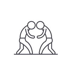 Wrestling line icon concept wrestling vector