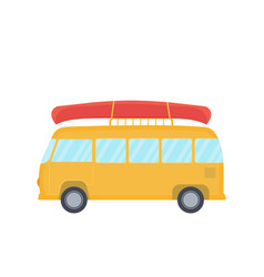 Yellow bus for camping and travel with canoe on vector