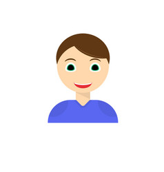 young man smiling face icon boy with joyful vector image