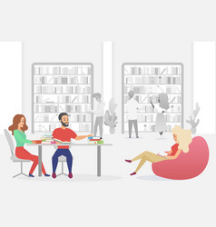 young people sitting in armchairs and sofa men vector image