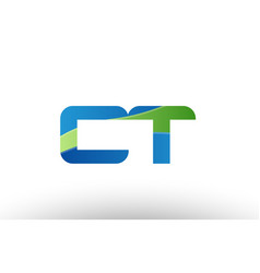 blue green ct c t alphabet letter logo vector image vector image