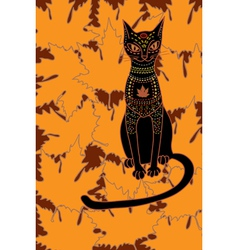 cat and autumn vector image