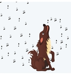 Cute fluffy cartoon dog howling vector image vector image