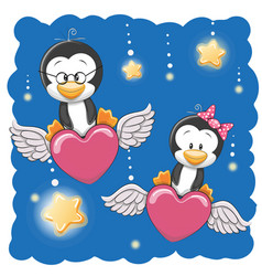 Cute lovers penguins vector