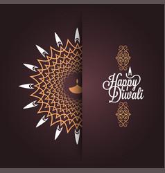 happy diwali vintage card design background vector image