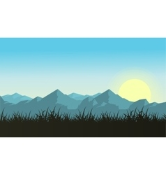 mountain with sun landscape vector image