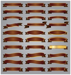 Set Bronze ribbons and banners with gold vector image