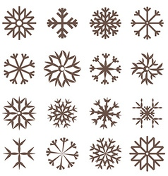 Snowflakes Set Flat Design vector image