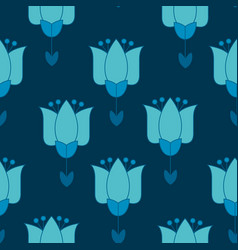 vivid blue color abstract tulip flower motif vector image vector image